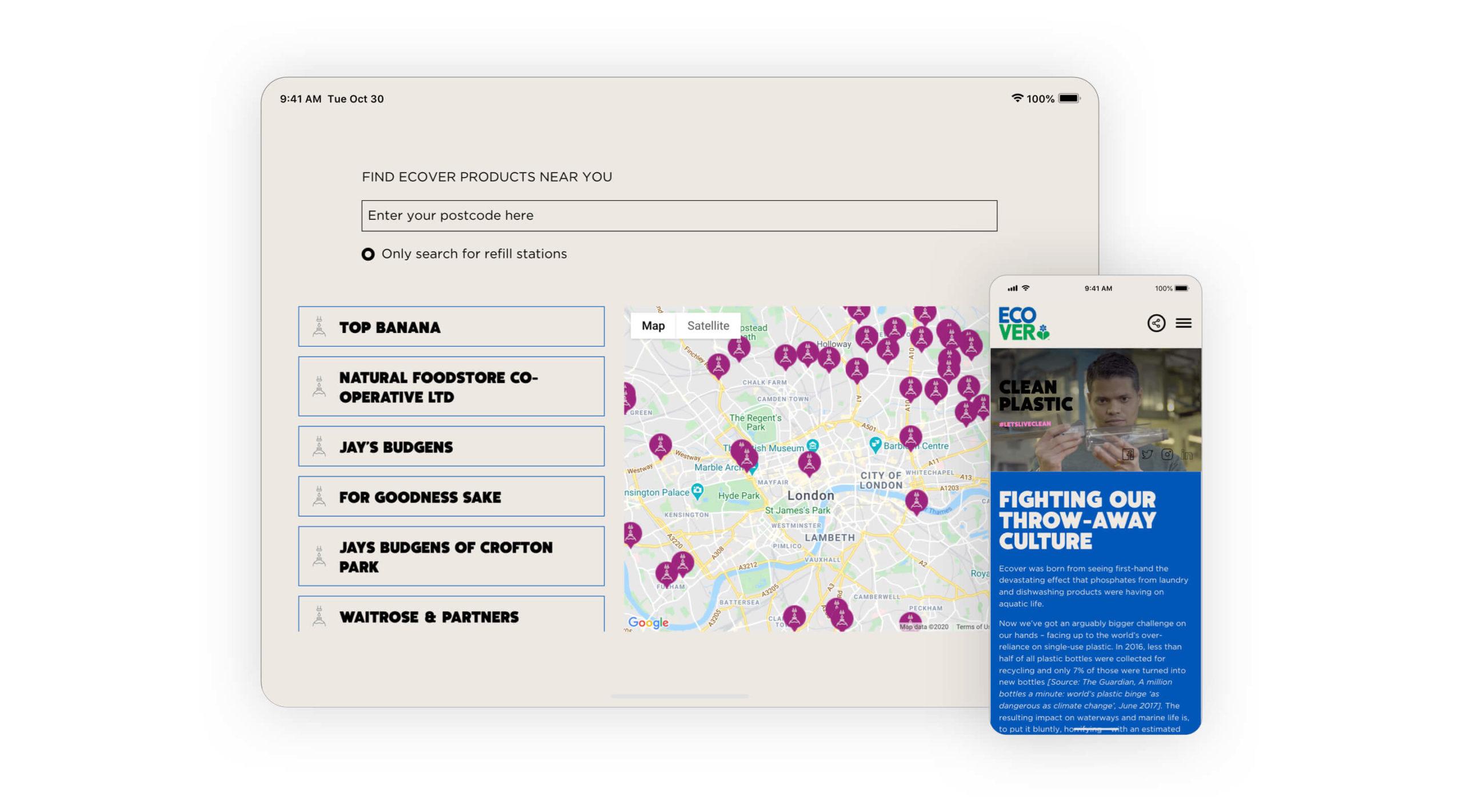 Ecover store locator map screenshot