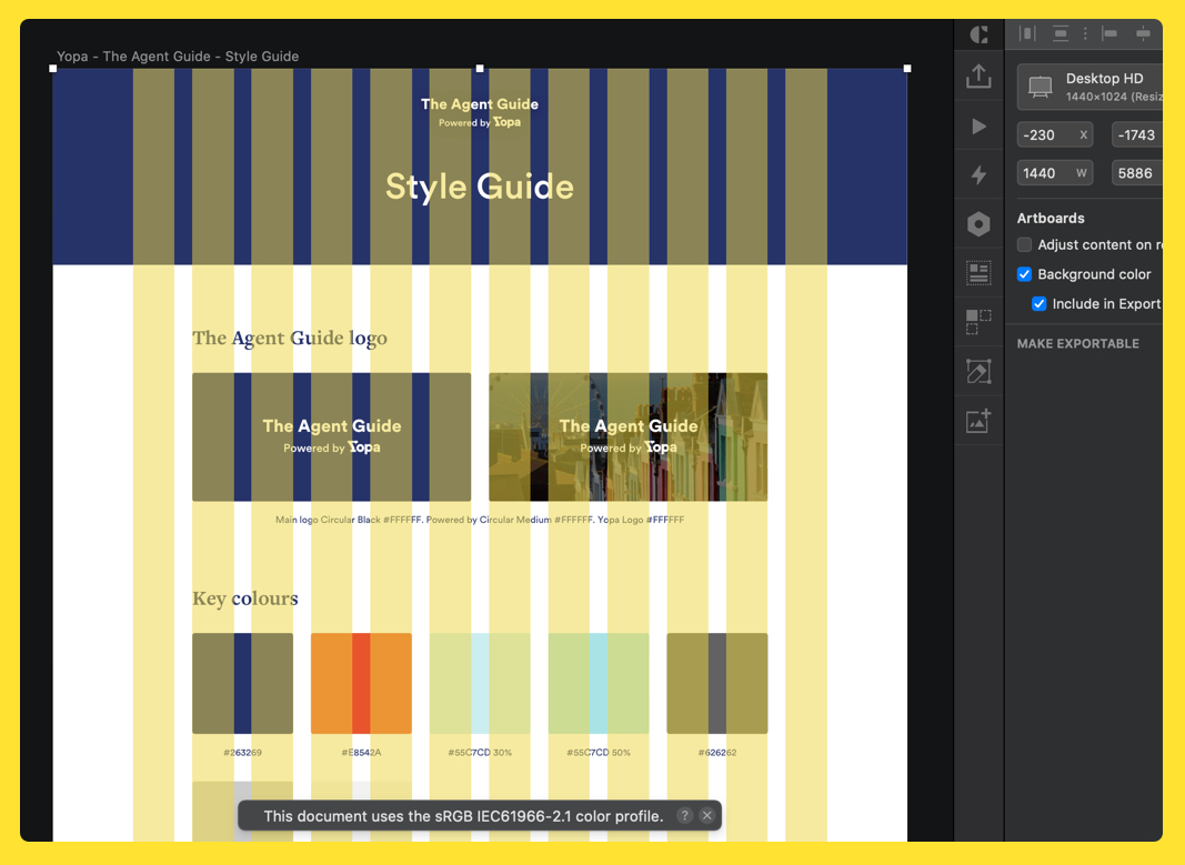 Design of website with layout in sketch