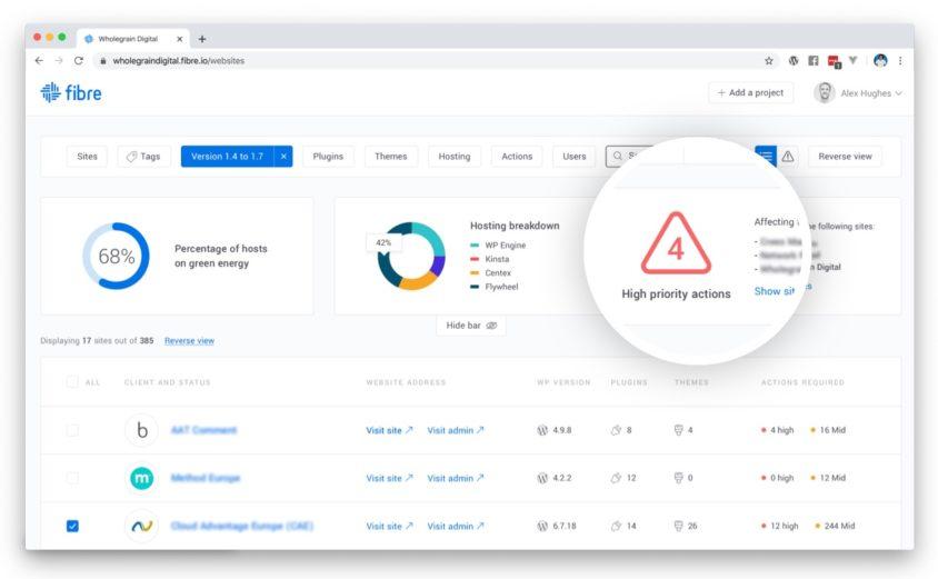 screenshot of wordpress maintenance platform Fibre
