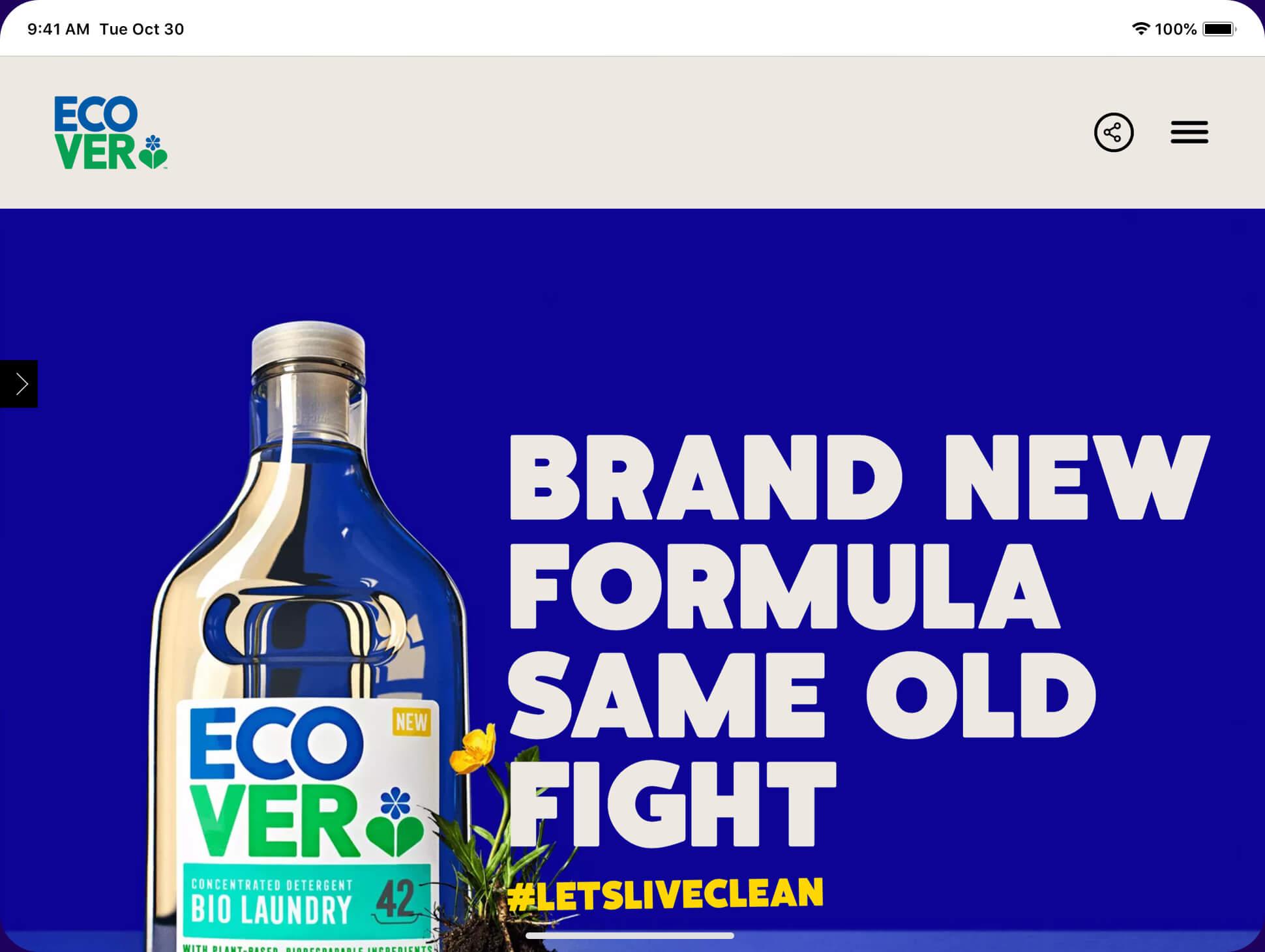 Ecover Website screenshot