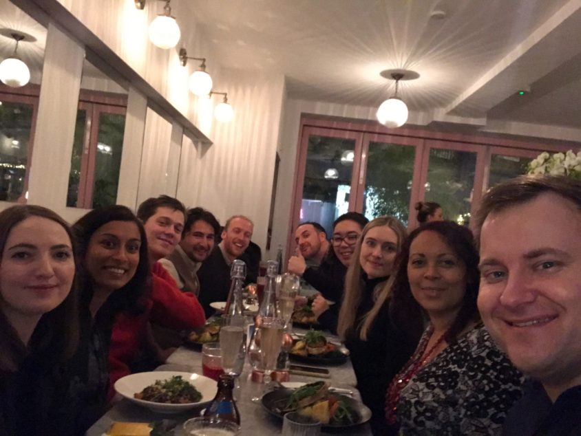 Photo of team on our 2019 Christmas dinner at a vegan restaurant