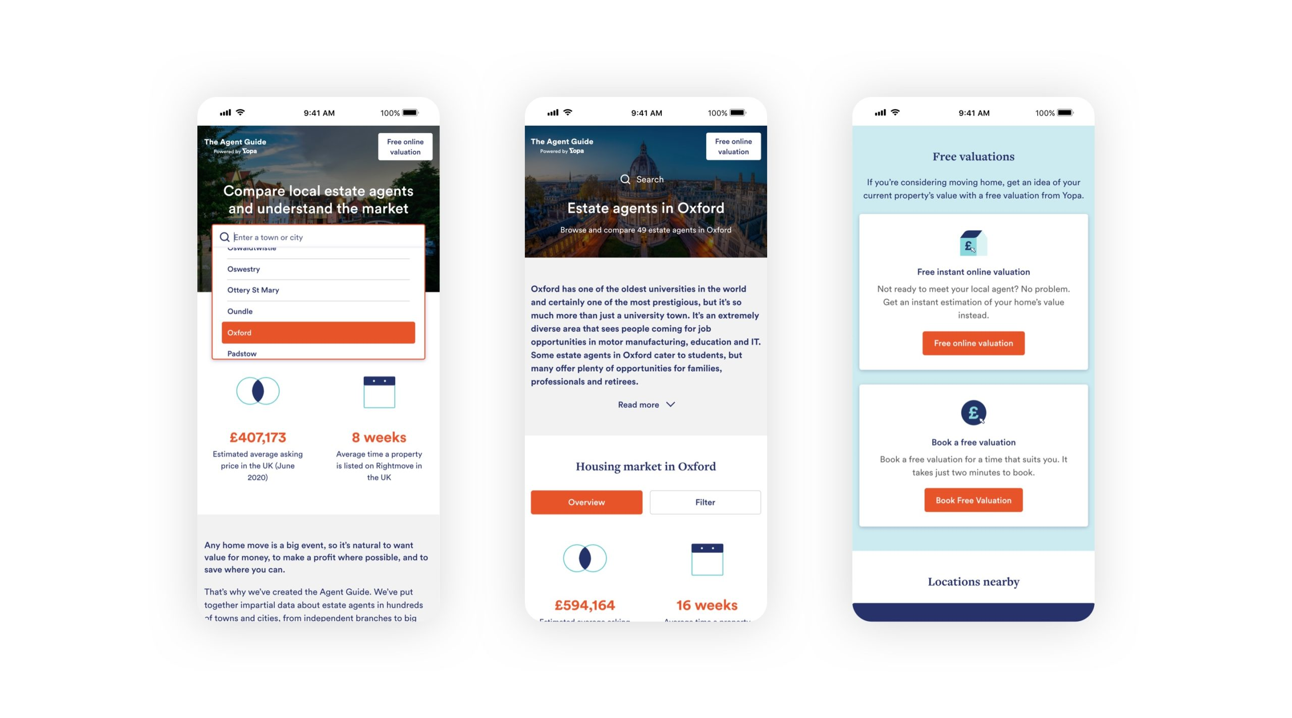 Image showing the different pages of The Agent Guide website on 3 mobile phone screens