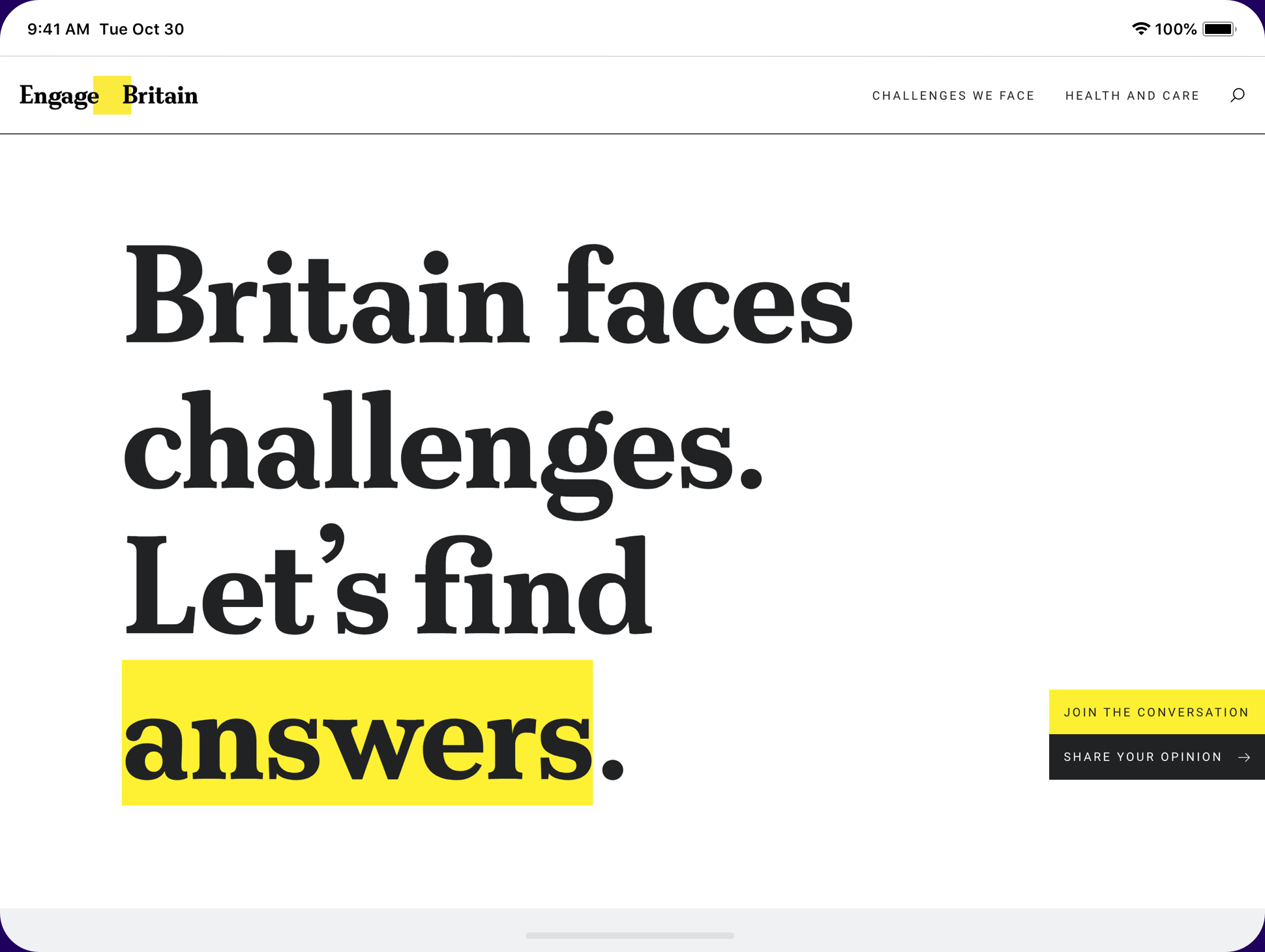 Image showing homepage of Engage Britain website