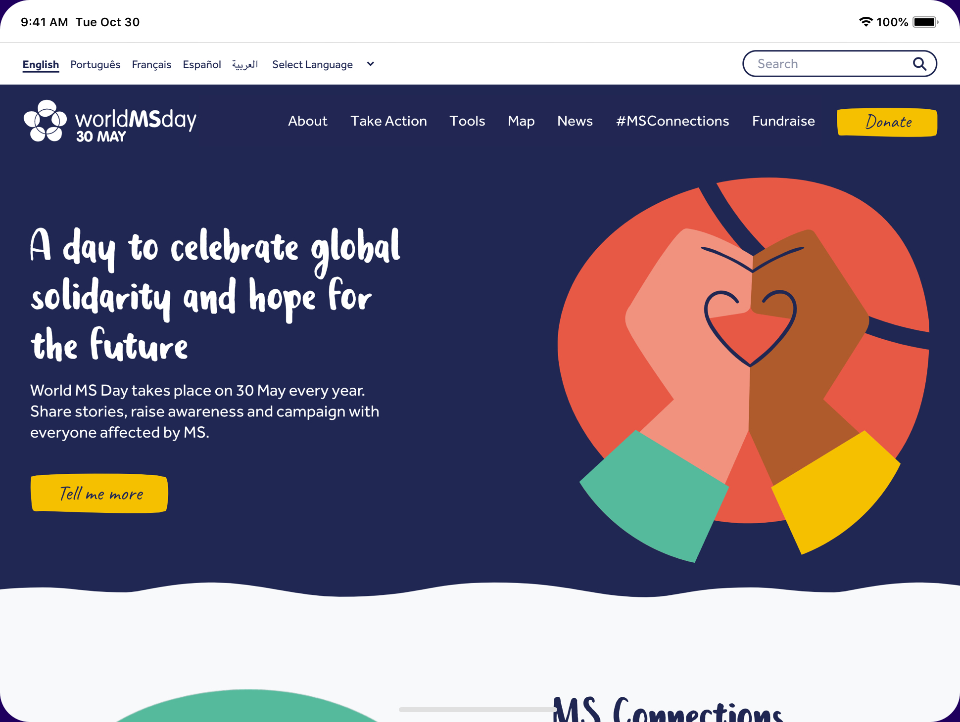 Image of homepage of Word MS Day website